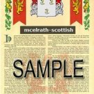 MCELRATH - SCOTTISH - Armorial Name History - Coat of Arms - Family Crest GIFT! 8.5x11