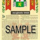 MCGINNIS - IRISH - Armorial Name History - Coat of Arms - Family Crest GIFT! 8.5x11