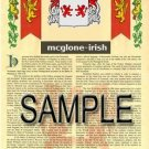 MCGLONE - IRISH - Armorial Name History - Coat of Arms - Family Crest GIFT! 8.5x11