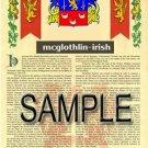 MCGLOTHLIN - IRISH - Armorial Name History - Coat of Arms - Family Crest GIFT! 8.5x11