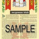 MCGOWAN - IRISH - Armorial Name History - Coat of Arms - Family Crest GIFT! 8.5x11