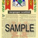 MCGREGOR - SCOTTISH - Armorial Name History - Coat of Arms - Family Crest GIFT! 8.5x11