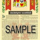 MCINTYRE - SCOTTISH - Armorial Name History - Coat of Arms - Family Crest GIFT! 8.5x11