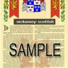 MCKAMEY - SCOTTISH - Armorial Name History - Coat of Arms - Family Crest GIFT! 8.5x11