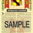 MCKEEVER - SCOTTISH - Armorial Name History - Coat of Arms - Family Crest GIFT! 8.5x11