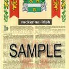 MCKENNA - IRISH - Armorial Name History - Coat of Arms - Family Crest GIFT! 8.5x11