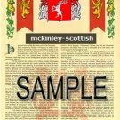 MCKINLEY - SCOTTISH - Armorial Name History - Coat of Arms - Family Crest GIFT! 8.5x11