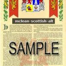MCLEAN - SCOTTISHALT - Armorial Name History - Coat of Arms - Family Crest GIFT! 8.5x11