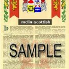 MCLIN - SCOTTISH - Armorial Name History - Coat of Arms - Family Crest GIFT! 8.5x11