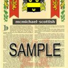 MCMICHAEL - SCOTTISH - Armorial Name History - Coat of Arms - Family Crest GIFT! 8.5x11