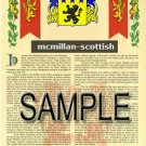 MCMILLAN - SCOTTISH - Armorial Name History - Coat of Arms - Family Crest GIFT! 8.5x11