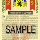 MCMULLEN - SCOTTISH - Armorial Name History - Coat of Arms - Family Crest GIFT! 8.5x11