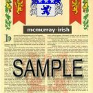 MCMURRAY - IRISH - Armorial Name History - Coat of Arms - Family Crest GIFT! 8.5x11