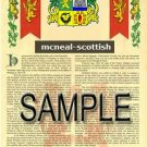 MCNEAL - SCOTTISH - Armorial Name History - Coat of Arms - Family Crest GIFT! 8.5x11