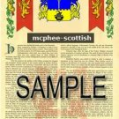 MCPHEE - SCOTTISH - Armorial Name History - Coat of Arms - Family Crest GIFT! 8.5x11