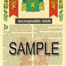 MCREYNOLDS - IRISH - Armorial Name History - Coat of Arms - Family Crest GIFT! 8.5x11