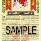 MCWILLIAMS - SCOTTISH - Armorial Name History - Coat of Arms - Family Crest GIFT! 8.5x11