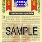 MEDEIROS - SPANISH - Armorial Name History - Coat of Arms - Family Crest GIFT! 8.5x11