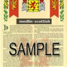 MEDLIN - SCOTTISH - Armorial Name History - Coat of Arms - Family Crest GIFT! 8.5x11