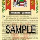 MEINERS - GERMAN - Armorial Name History - Coat of Arms - Family Crest GIFT! 8.5x11