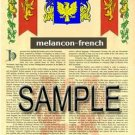 MELANCON - FRENCH - Armorial Name History - Coat of Arms - Family Crest GIFT! 8.5x11