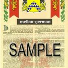 MELLON - GERMAN - Armorial Name History - Coat of Arms - Family Crest GIFT! 8.5x11