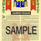 MELLOTT - FRENCH - Armorial Name History - Coat of Arms - Family Crest GIFT! 8.5x11