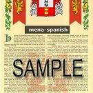 MENA - SPANISH - Armorial Name History - Coat of Arms - Family Crest GIFT! 8.5x11