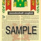 MENDENHALL - ENGLISH - Armorial Name History - Coat of Arms - Family Crest GIFT! 8.5x11