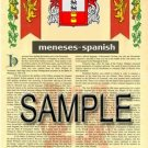 MENESES - SPANISH - Armorial Name History - Coat of Arms - Family Crest GIFT! 8.5x11