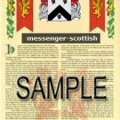MESSENGER - SCOTTISH - Armorial Name History - Coat of Arms - Family Crest GIFT! 8.5x11