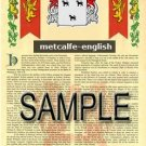 METCALFE - ENGLISH - Armorial Name History - Coat of Arms - Family Crest GIFT! 8.5x11