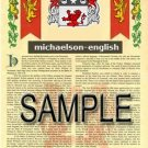 MICHAELSON - ENGLISH - Armorial Name History - Coat of Arms - Family Crest GIFT! 8.5x11