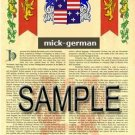 MICK - GERMAN - Armorial Name History - Coat of Arms - Family Crest GIFT! 8.5x11