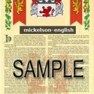 MICKELSON - ENGLISH - Armorial Name History - Coat of Arms - Family Crest GIFT! 8.5x11