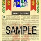 MIER - GERMAN - Armorial Name History - Coat of Arms - Family Crest GIFT! 8.5x11