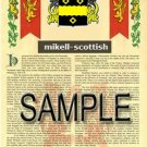 MIKELL - SCOTTISH - Armorial Name History - Coat of Arms - Family Crest GIFT! 8.5x11
