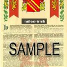 MILES - IRISH - Armorial Name History - Coat of Arms - Family Crest GIFT! 8.5x11