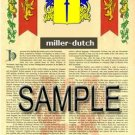 MILLER - DUTCH - Armorial Name History - Coat of Arms - Family Crest GIFT! 8.5x11