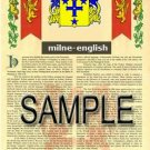 MILNE - ENGLISH - Armorial Name History - Coat of Arms - Family Crest GIFT! 8.5x11