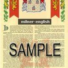 MILNER - ENGLISH - Armorial Name History - Coat of Arms - Family Crest GIFT! 8.5x11