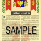 MILTON - ENGLISH - Armorial Name History - Coat of Arms - Family Crest GIFT! 8.5x11