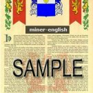 MINER - ENGLISH - Armorial Name History - Coat of Arms - Family Crest GIFT! 8.5x11