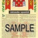 MIRANDA - SPANISH - Armorial Name History - Coat of Arms - Family Crest GIFT! 8.5x11