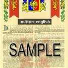 MITTON - ENGLISH - Armorial Name History - Coat of Arms - Family Crest GIFT! 8.5x11