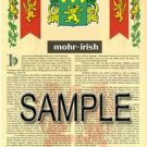 MOHR - IRISH - Armorial Name History - Coat of Arms - Family Crest GIFT! 8.5x11