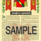MOJICA - SPANISH - Armorial Name History - Coat of Arms - Family Crest GIFT! 8.5x11