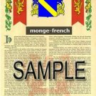 MONGE - FRENCH - Armorial Name History - Coat of Arms - Family Crest GIFT! 8.5x11