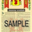 MONROY - SCOTTISH - Armorial Name History - Coat of Arms - Family Crest GIFT! 8.5x11
