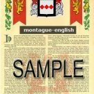 MONTAGUE - ENGLISH - Armorial Name History - Coat of Arms - Family Crest GIFT! 8.5x11